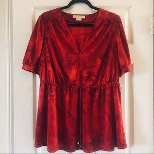 Michael Kors Red Glam Tie-Dye Drawstring Blouse 1X